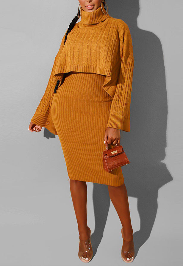Fashion High Collar Sweater Skirt Two-Piece-dress-pinkychloe