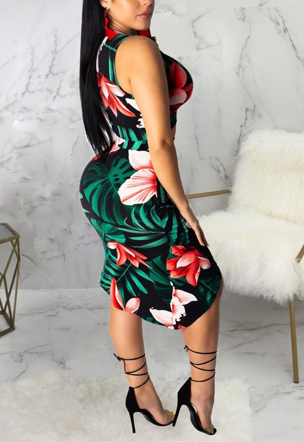Sexy Hot Fashion Digital Print Two Piece Suit-Dresses-pinkychloe