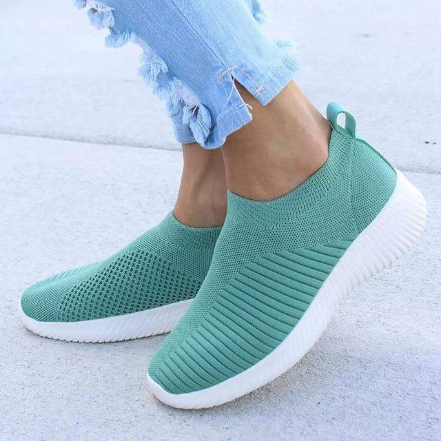 Knitting Sock Sneakers Women Spring Summer Slip On Flat Shoes-pinkychloe
