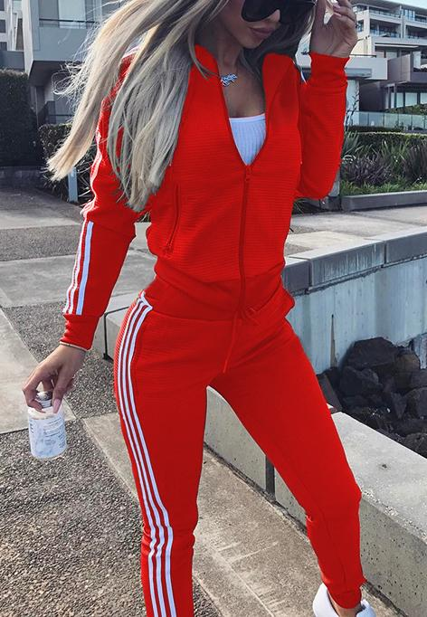 Slim casual sports two-piece 378-suit-pinkychloe