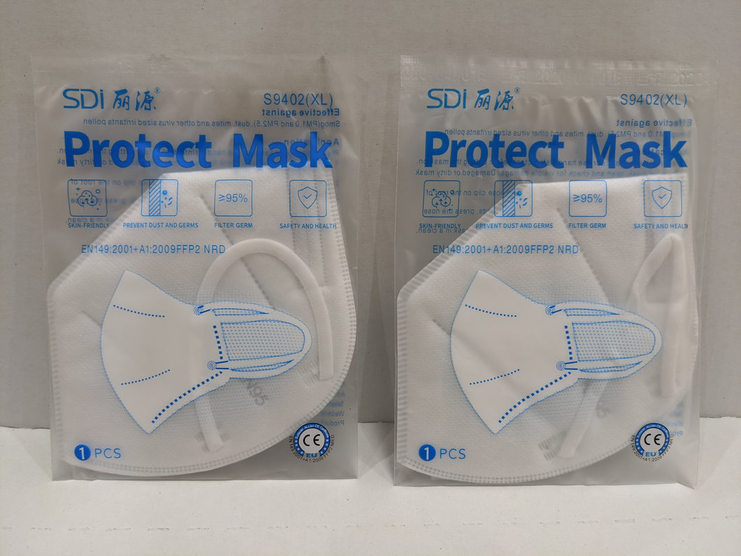 25 Pack Protective Face Mask w/ Elastic Ear Loops Individually Wrapped