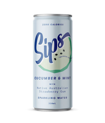 Sips Sparkling Water Cucumber & Mint with Native Australian Strawberry Gum 12 x 330ml cans