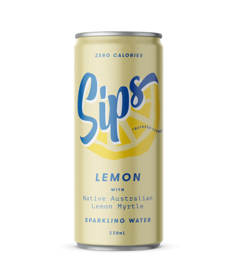 Sips Sparkling Water Lemon with Native Australian Lemon Myrtle 12 x 330ml cans