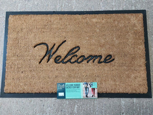 """Welcome"" rubber backed coir mat"
