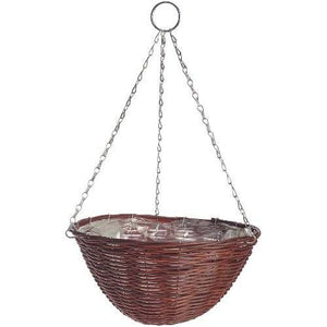 Rattan Effect Brown Hanging Basket 14""