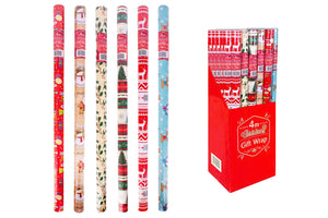 4 metre Christmas Wrapping Paper in 3 assorted designs