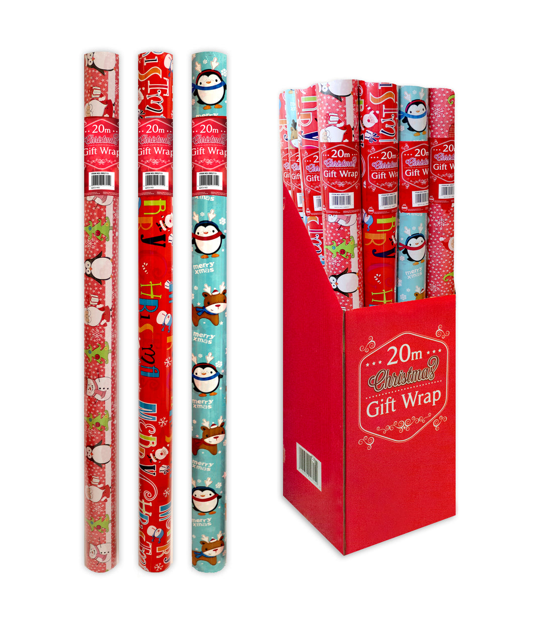 20 metre Christmas Wrapping Paper in 3 assorted designs