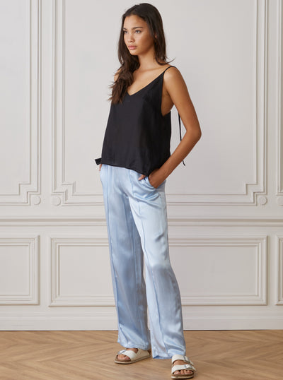 Black linen cami top