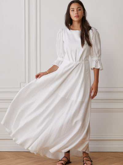 Long linen dress white