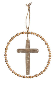 Round Wood with Metal Cross
