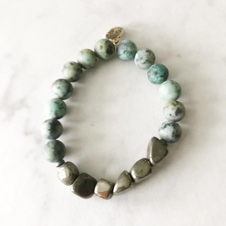 Matte African Turquoise/ Pyrite Stretch Bracelet