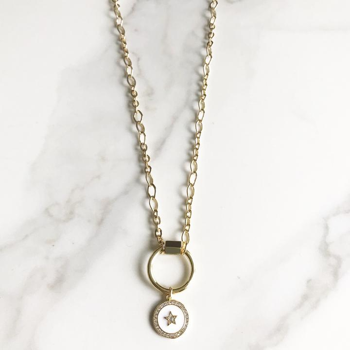 Gold Circle Carabiner with White Charm Necklace