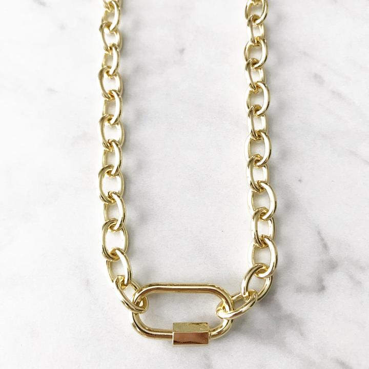 Chunky Gold Carabiner Necklace