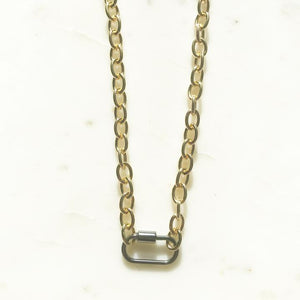 Chunky Gold/ Gunmetal Carabiner Necklace