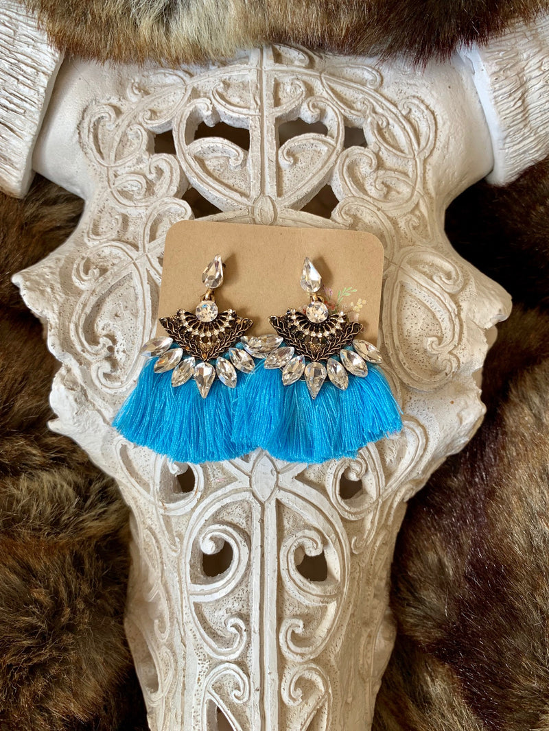 Country Glow Tassel Drop Earrings Light Blue