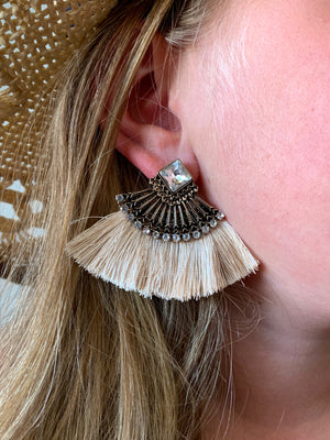 Country Glow Square Jewel Tassel Drop Earrings Light Nude