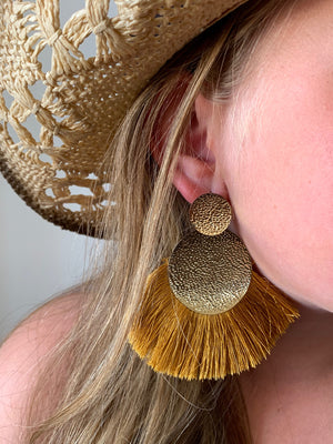 Country Glow Vintage Tassel Drop Earrings Mustard