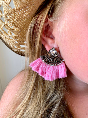 Country Glow Tassel Drop Earrings Light Pink