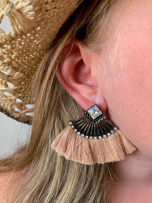 Country Glow Square Jewel Tassel Drop Earrings Deep Nude
