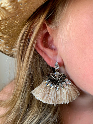 Country Glow Tassel Drop Earrings Nude
