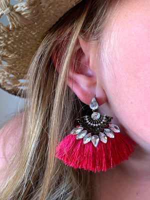 Country Glow Tassel Drop Earrings Hot Pink