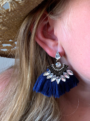Country Glow Tassel Drop Earrings Navy