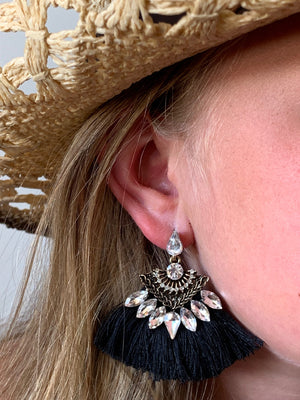 Country Glow Tassel Drop Earrings Black