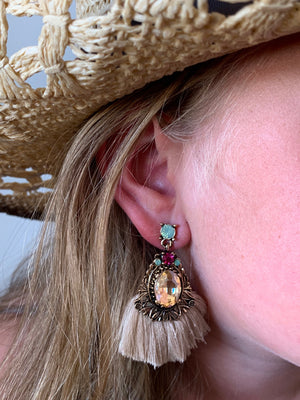 Country Glow Jewel Tassel Drop Earrings