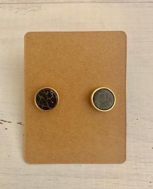Country Glow Stud Earring Collection Black Marble Round