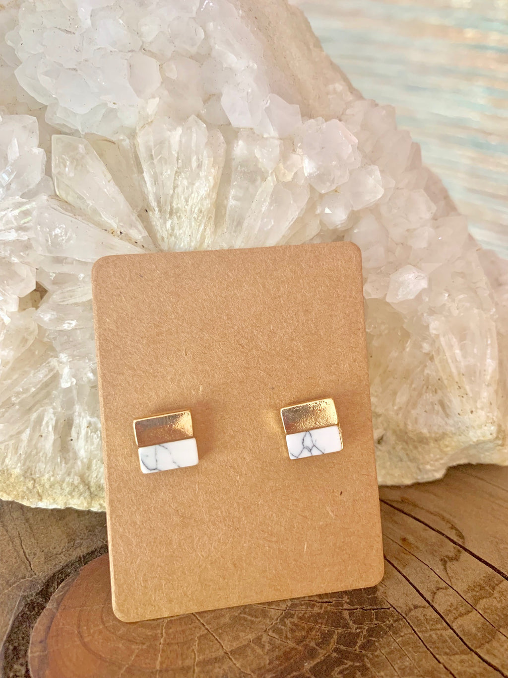 Country Glow Stud Collection Gold & White Square