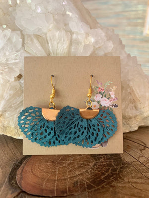 Country Glow Drop Collection Teal Fabric Earrings