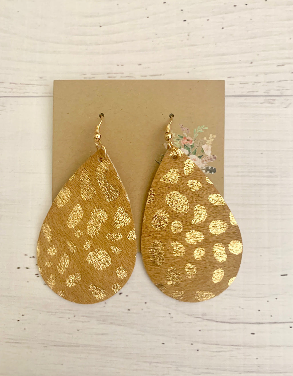 Country Glow Collection Tan Gold Cowhide Inspired Earrings