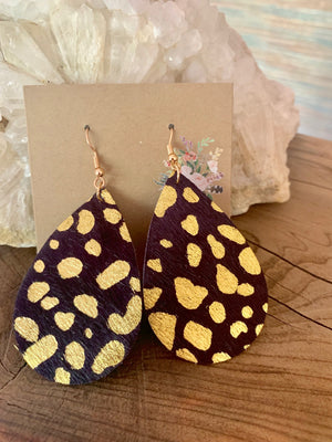Country Glow Collection Navy Gold Cowhide inspired Earrings