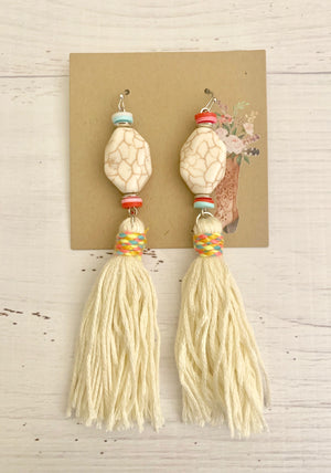 Country Glow Drop Collection White Stone Tassel Earrings