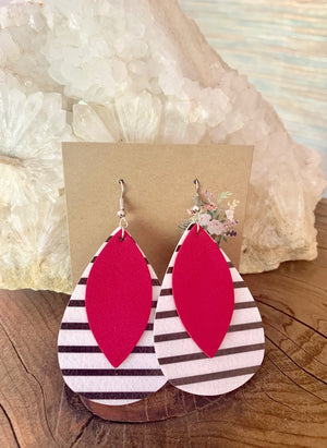 Country Glow Drop Collection Hot Pink Leather Look Earrings