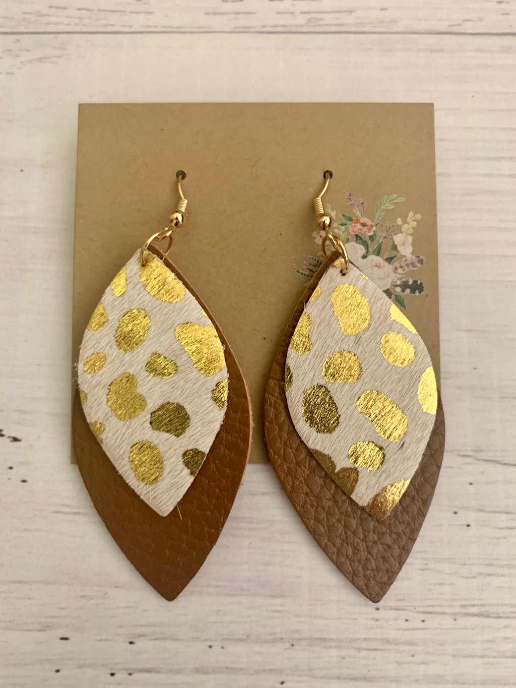 Country Glow Drop Collection Cowhide Tan & Gold Leather Look Earrings
