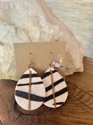 Country Glow Drop Collection Zebra Inspired Earrings