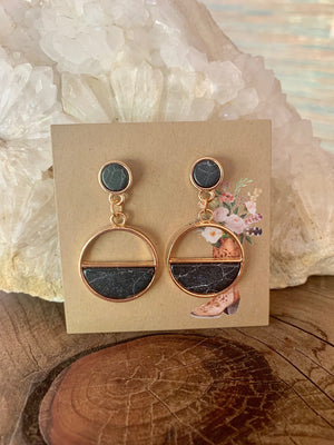 Country Glow Drop Collection Black Marble Look Earrings