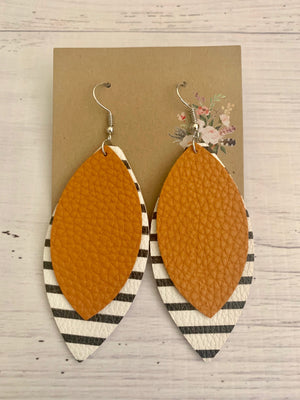 Country Glow Drop Collection Tan Leather Look Earrings