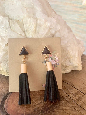 Country Glow Drop Collection Leather Look Tassel Earrings