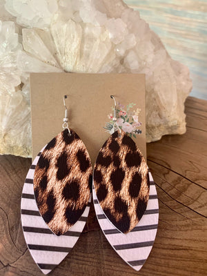 Country Glow Drop Collection Leather Look Leopard Earrings
