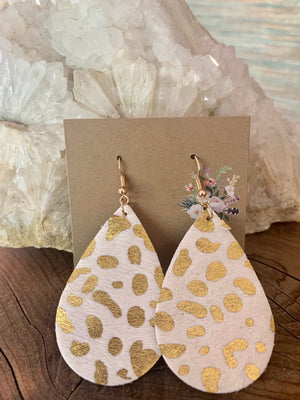 Country Glow Drop Collection Ivory & Gold Cowhide Inspired Earrings