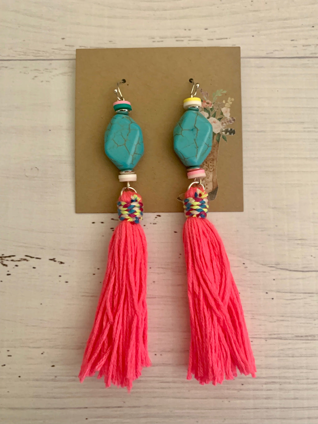Country Glow Drop Collection Stone & Fluro Pink Tassel Earrings