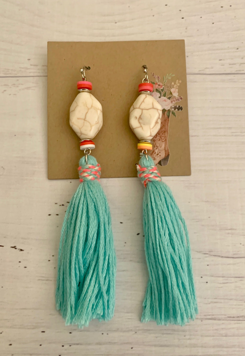 Country Glow Drop Collection Turquoise Stone & Tassel Drop Earrings