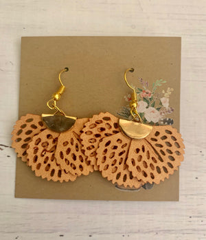 Country Glow Drop Collection - Pale Mustard Fabric Earrings