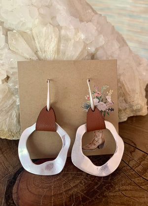 Country Glow Drop Collection Tan & Silver Earrings