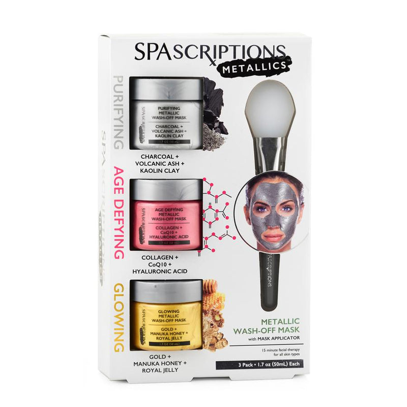 PURIFYING, AGE DEFYING AND GLOWING METALLIC FACEMASK 3 PACK