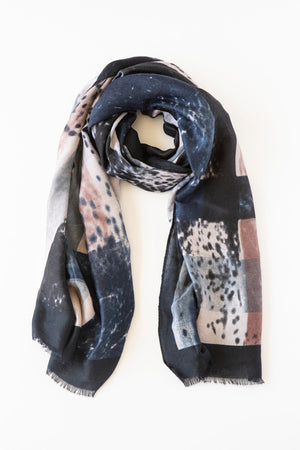 ANTLER Navy & Blush Abstract Scarf