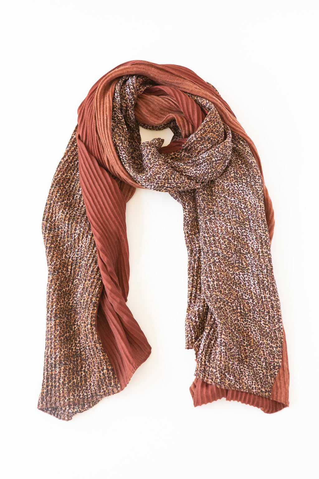 ANTLER Rust & Leopard Pleated Scarf