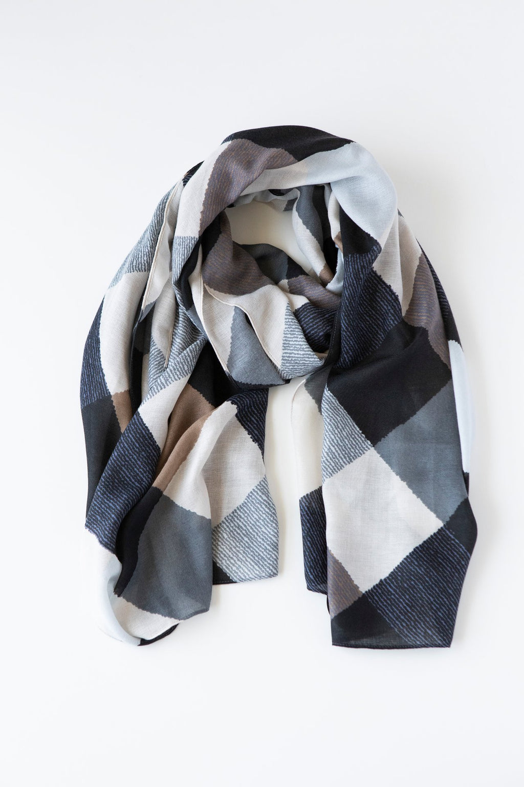 ANTLER Grey Black & Blue Squares Scarf